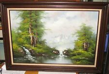 S.HILLS RIVER SNOW MOUNTAIN LANDSCAPE LARGE OIL ON CANVAS PAINTING