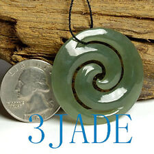 Nephrite Jade Koru Pendant NZ Maori Style Carving Symbol of Love Hope Beginings