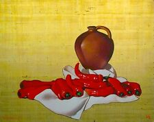 Michael Huggins JUG, RED PEPPERS Original Oil Painting on Gold Leaf, MAKE OFFER!