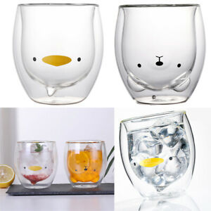 Cute Bear/Duck Mugs Double-Wall Insulated Glass Tea Cup Espresso Cups 250ml Gift