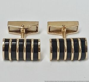 Vintage 14K Yellow Gold Onyx Inlayed Designer Signed ABL Mens Cufflinks 11.2g