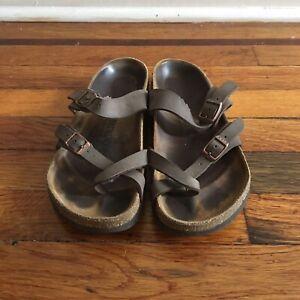 Birkenstock Mayari Women's Cross Strap Brown Slip On Adjustable Sandal Size 38