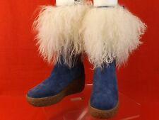 NWB MICHAEL KORS BLUE SUEDE SHEEPSKIN CUFF CREPE WEDGE BOOTS ITALY 6