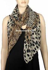 Elegant Handmade Oblong Scarf Shawl Wrap Chiffon w/ LEOPARD Pattern, Black/Brown