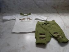 NB Up to 7lbs Baby Boy Gymboree Long Sleeve Raccoon Romper Stretch Pants Outfit