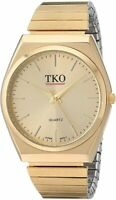 TKO All Gold Watch Expansion Band Stainless Steel Stretch  TK649G