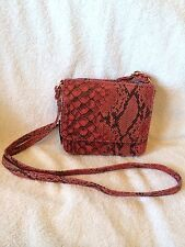 NWT Top Shop Red Black Gold Snakeskin Print Double Flap Cross Body Purse