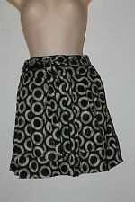 Atmosphere Black Brown Textured Pleat Circle Print Mini Skirt with Belt Size 8