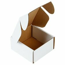 Cardboard Small Shipping Boxes Corrugated Mailers 4x4x2 Oyster White 50 Pack