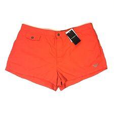 b8c8f797ba EMPORIO ARMANI Mens Swim Trunks Red Orange Lined Snap Fly Logo Size 38  -MSRP $91