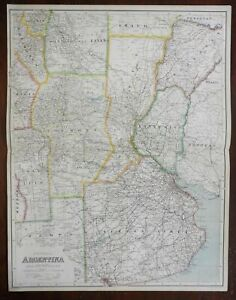 So. America Central Argentina Buenos Aires Rio de la Plata 1914 huge scarce map