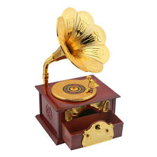 Wooden Trumpet Gramophone Art Disc Music Box & Make up Case &Jewelry Box brown