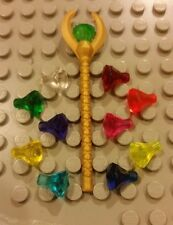 Lego NEW Pharaoh's Quest Gold Staff/Scepter w/ 11 Different Gems/Jewels Crystals