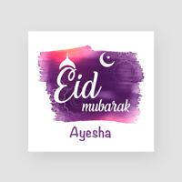 Personalised Handmade Eid Mubarak Card - Islam, Muslim, Moon Crescent, Mosque