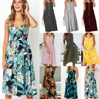 Women Strappy Midi Dress Button Floral Swing Sundress Summer Beach Holiday Dress