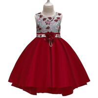 Xmas Bowknot Girl's Flower Princess Dress Party Formal Gown Kid Dresses New Year