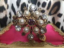 Betsey Johnson Ski Bunny Winter Snowflake Pearl Lavender Crystal Bracelet RARE
