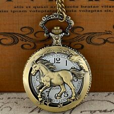 Hollow Bronze Horse Pendant Antique Pocket Watch Quartz Necklace Chain Mens Gift