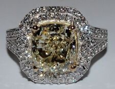 Handcrafted Fancy Yellow GIA 3.70 Carat Cushion Cut Diamond Engagement Ring 18k