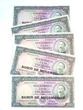Mozambique 100 Meticai, 1961, Unc ( X 5 Pcs) from bundle bank notes