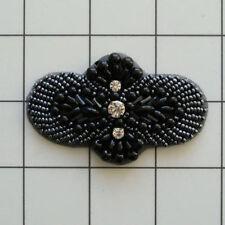 Black And Gunmetal Pearl Beaded Rhinestone Applique 2727-C