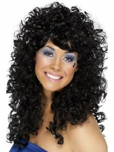 Womens Perm Wig Long Curly Black Hair Jeri Curl 80s Adult Costume Halloween NEW