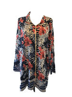 Catherines  Womens Size 3X Navy Peach Floral Zip Cardigan Jacket Plus NWT $64