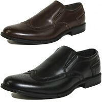 Alpine Swiss Basel Mens Wing Tip Dress Shoes Brogue Medallion Slip On Loafers