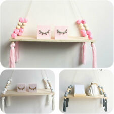 Wooden Nordic Style Hanging Tassel Bead Storage Wall Shelf Kids Nursery Bedroom