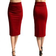 Winter Women Pencil Skirt Cotton Stretch Elastic Office OL Split Bodycon Skirt