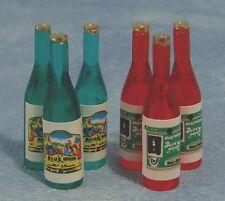 Sei ASSORTITI bottiglie di vino, Casa Bambole Miniature Accessorio, alimentare e delle bevande sala da pranzo