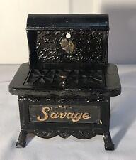 Antique Savage California Design Cast Iron Stove Advertising Sample Match Safe
