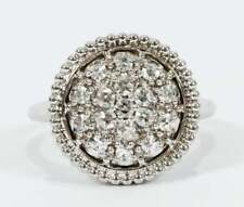 Cubic Zirconia & Cluster Real 925 Solid Silver Round Flat Engagement Women Ring