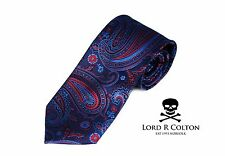 Lord R Colton Studio Tie Ocean Blue & Red Paisley Woven Necktie $95 New