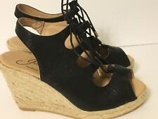 eef01580b901 Gaimo Gossip Women s SZ 6 Black Leather Wedge Espadrille Hemp Strappy Sandal