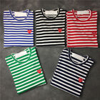 Men's Comme Des Garcons CDG Play Striped Red Heart SHORT Sleeve Women's T-shirt!