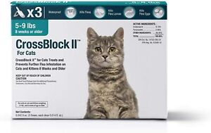 VetOne CroosBlock II for Cats.Fleas Infestation Treatment. 5-9 lbs