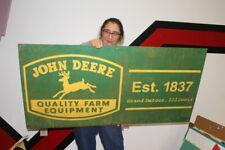 "Large John Deere Quality Farm Equipment Tractor Gas Oil 48"" Metal Sign"