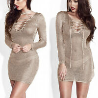 Women Long Sleeve V Neck Lace Up Bodycon Mini Dress Party Club Perspective Skirt