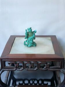 Antique chinese turquoise hand carved statue figure of a lady 19th Qing dynasty