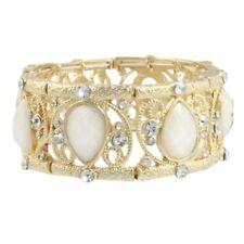NEW White Cream Resin Teardrop Filigree Cage Cuff Stretch Bracelet Bridal Prom