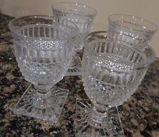 VINTAGE SET 4 COLONY PARK INDIANA GLASS CRYSTAL STEMWARE WINE DRINKING GLASSES