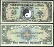 Yin And Yang Karma Fate Million Dollars $ USA Play Money Bill Novelty Not Real