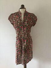 TOPSHOP Camo cotton aztec print button up dress UK size 12