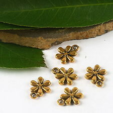 24pcs dark gold tone 2sided flower charms H2328