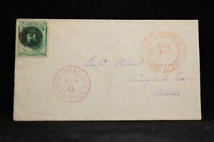 Hawaii: G.P.O. Honolulu Paid All 1870s #33 Cover, Fancy Negative H Cancel