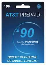 AT&T Prepaid $90 Refill Top-Up Prepaid Card / DIRECT RECHARGE