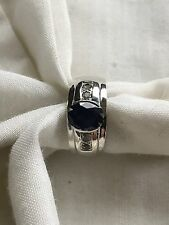 NATURAL ROYAL BLUE 2.0CT. OVAL SAPPHIRE RING SIZE10  IN STERLING SILVER 925