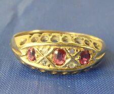 STUNNING ANTIQUE EDWARDIAN 1909 18 CT GOLD DIAMOND & RUBY RING SIZE L