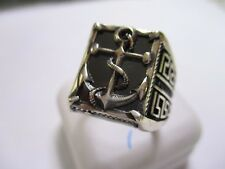 Gorgeous Sterling Silver Men's ring gray stone Boat Anchore style 925 slvr 10.5